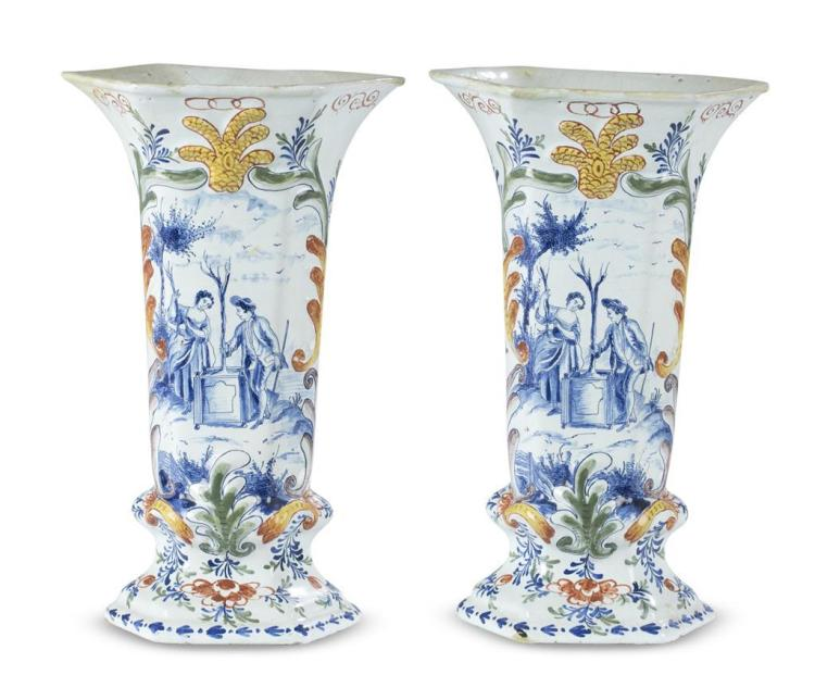 A pair of Delft Vases, late 18th century