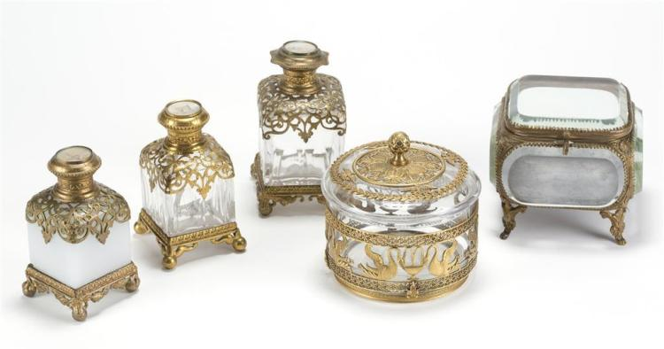 A five piece assorted dresser set, french, 19th century