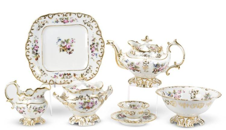 An English porcelain tea service for twelve, 19th century