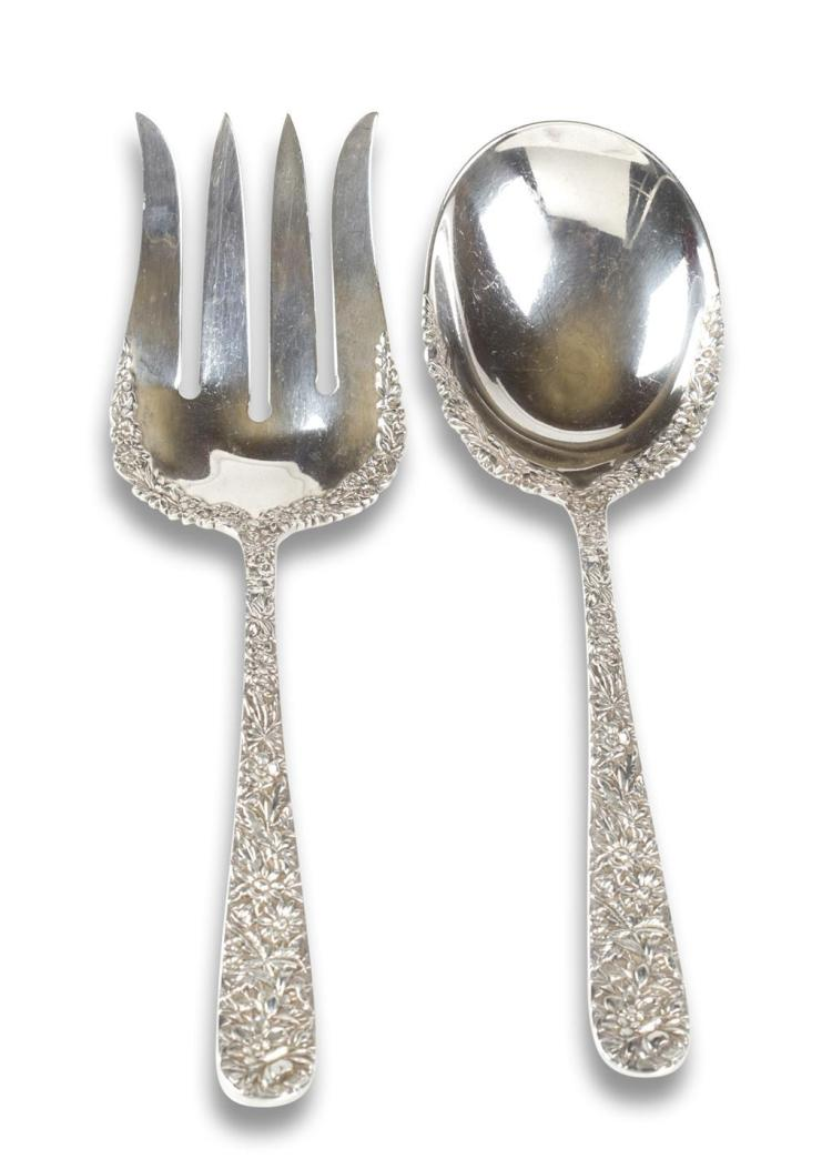 A sterling silver serving fork and spoon, s. kirk & son, baltimore, md, early 20th century