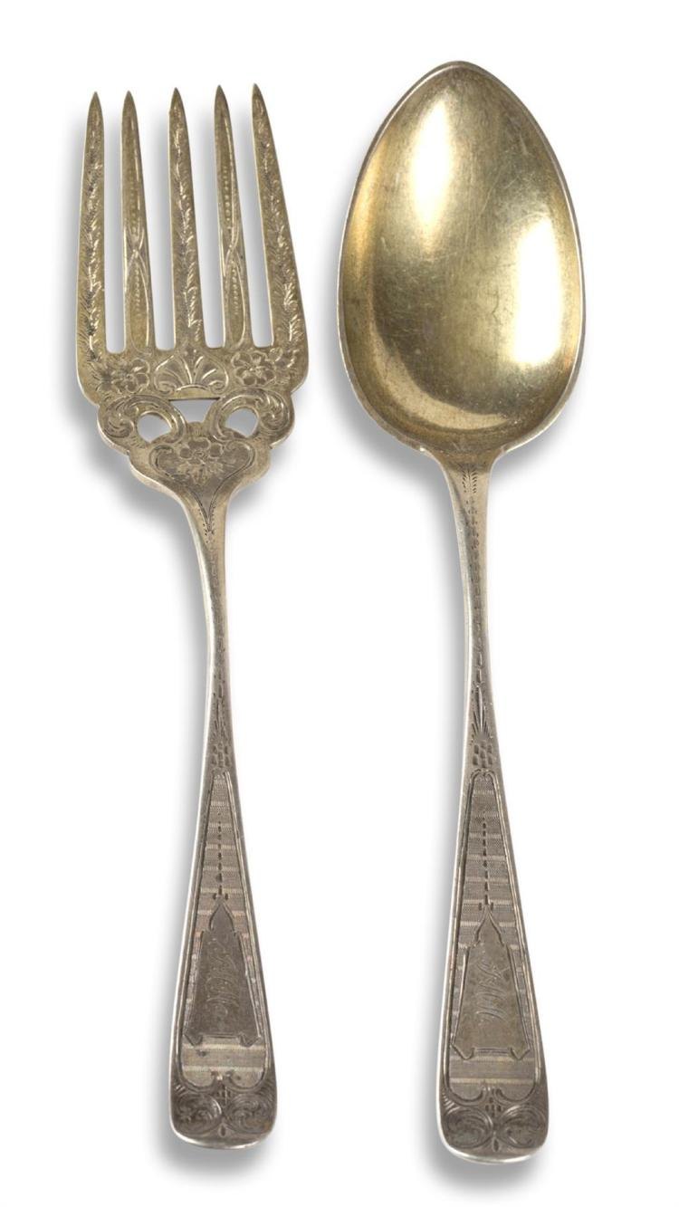 A coin silver serving fork and spoon, retailed by j. einstein, philadelphia, pa