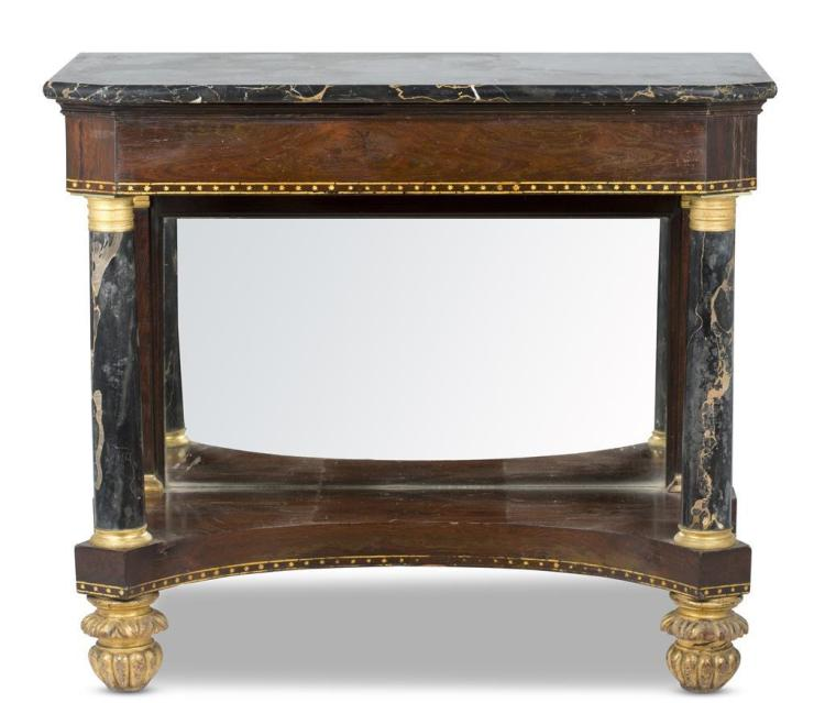 A Classical rosewood and marble pier table, new york, early 19th c.