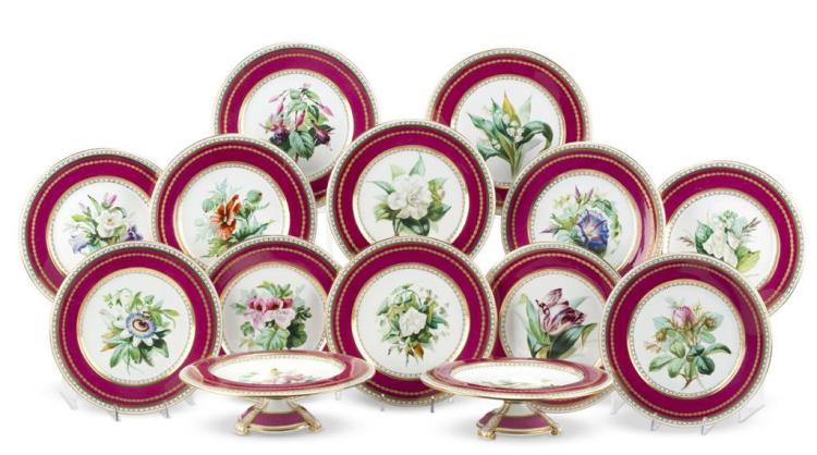 An English hand-painted porcelain partial dessert service, 19th century