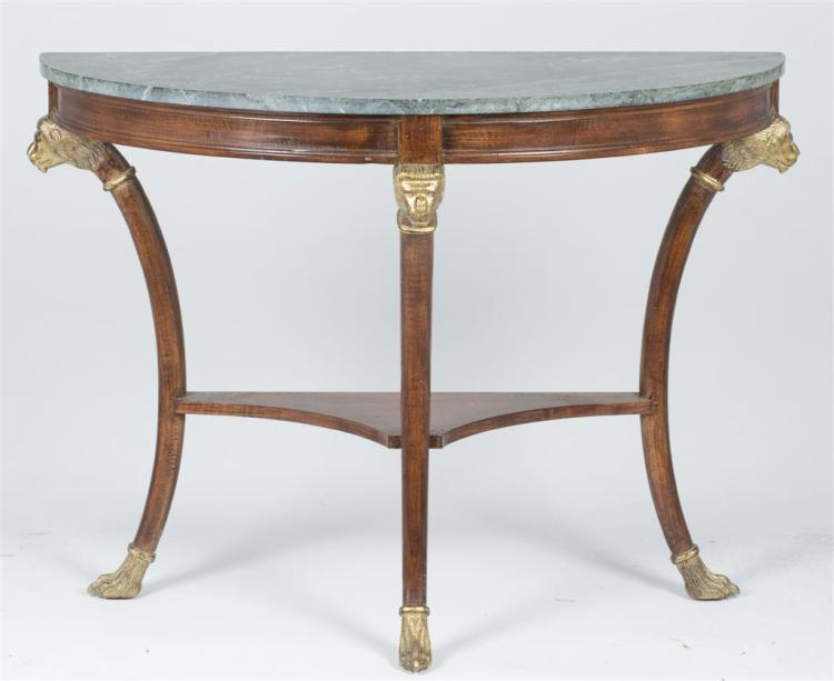 A cherry demilune console table, french, 20th century