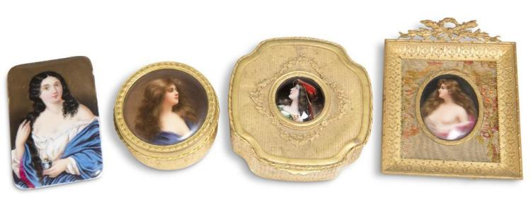 Four hand-painted portraits, continental, 19th century