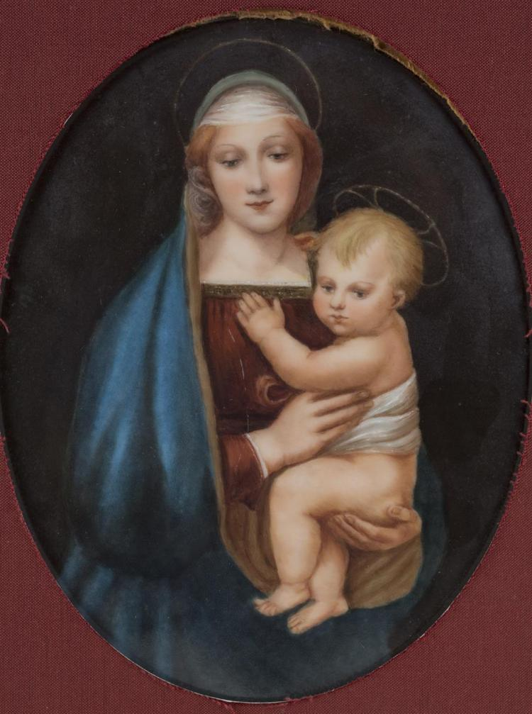 A porcelain plaque of Madonna and child after Raphael, 19th century