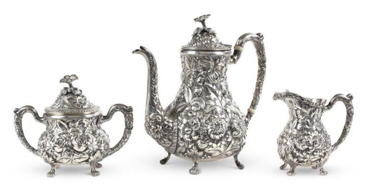 A sterling silver three-piece tea service, steiff company, baltimore, md, 1935