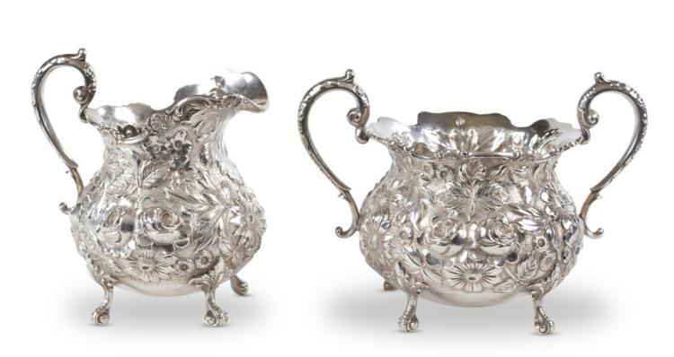 A sterling silver creamer and sugar, stieff company, baltimore, md, early 20th century