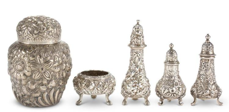 Five pieces of sterling silver tablewares, early 20th century
