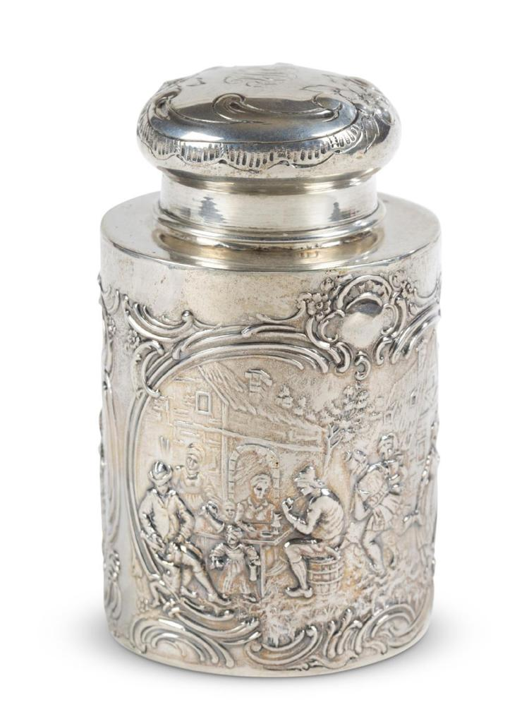 A Continental silver caddy, illegible maker''s marks