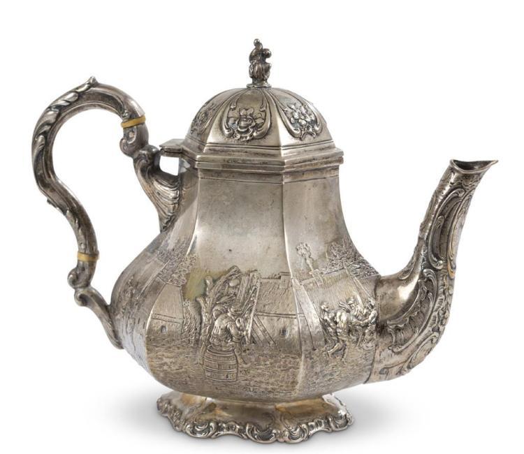 A German silver teapot, storck & sinsheimer, hanau, late 19th century