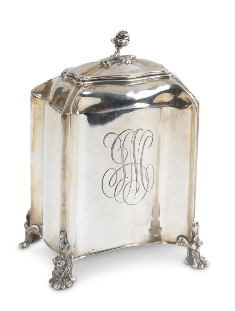 A sterling silver tea caddy, s. kirk and son, baltimore, md, late 19th/early 20th century