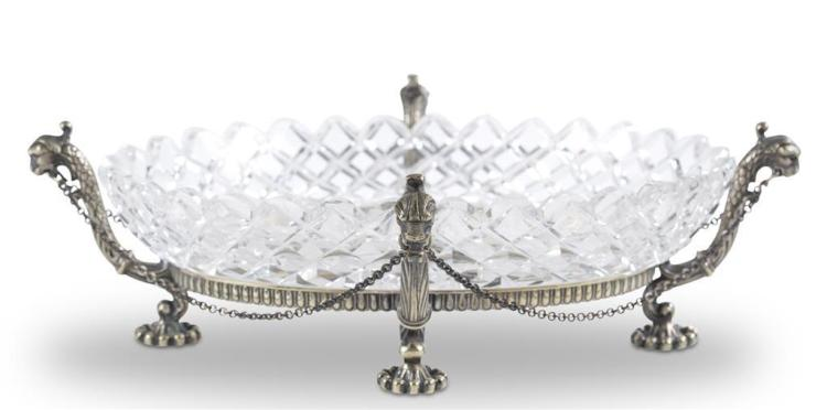 A silverplate and crystal centerpiece, 19th century