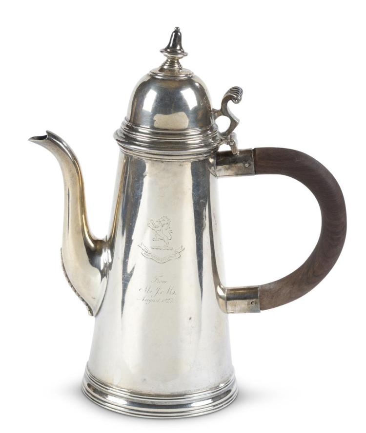 A Scottish silver coffee pot, 1916, glasgow, retailed by sorely