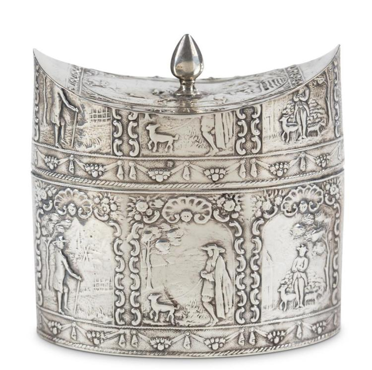 A Continental sterling silver tea caddy, possibly german, 19th century