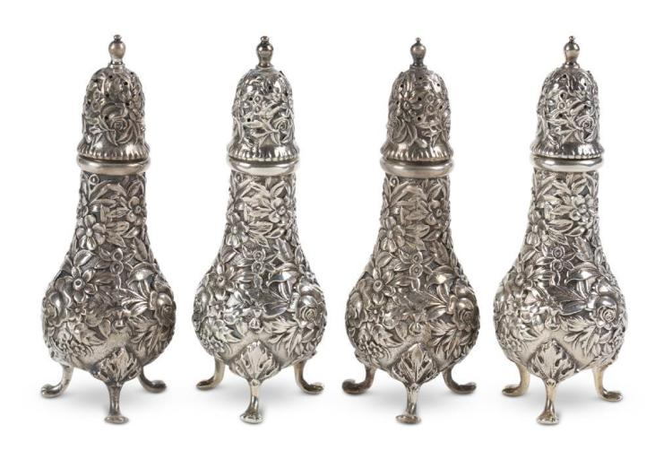 Four sterling silver shakers, s. kirk & son, baltimore, md