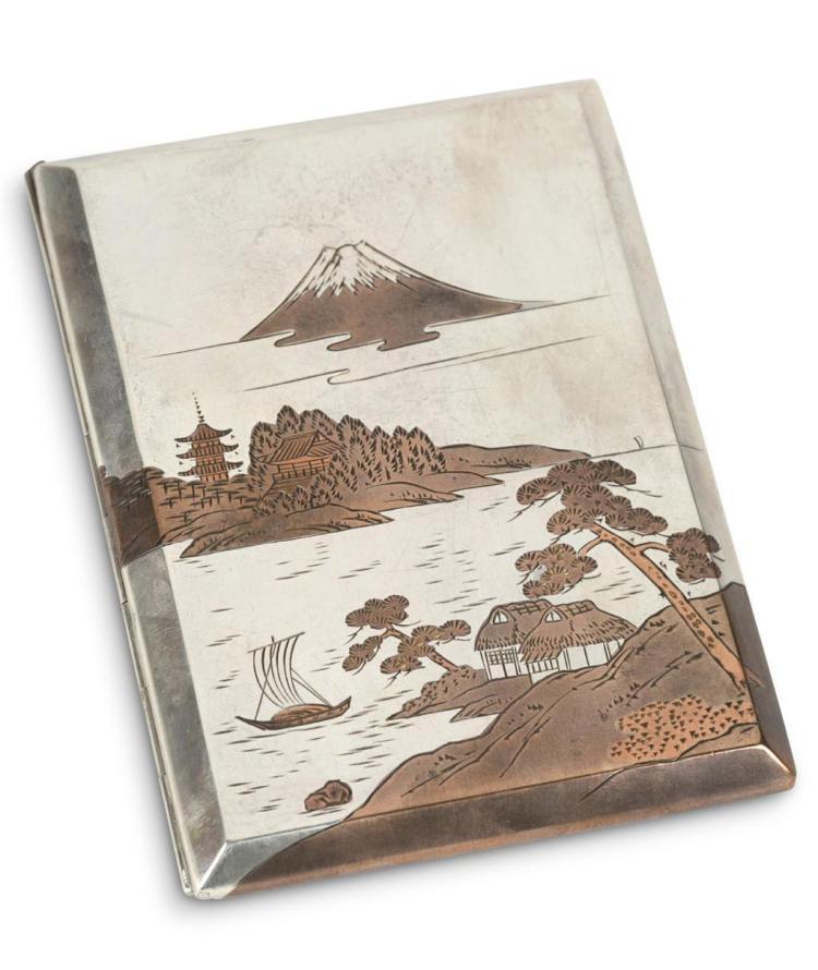 A Japanese .950 silver cigarette case, okubo, 20th century