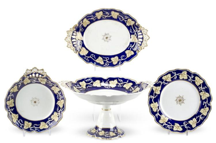 An English porcelain partial luncheon service, late 19th century