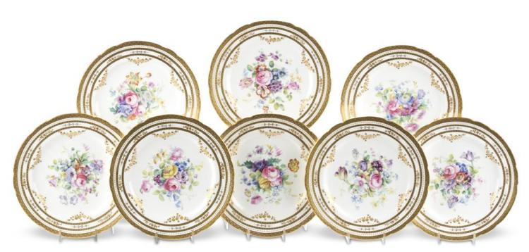 Eight English cabinet plates, retailed by j.e. caldwell, philadelphia, pa