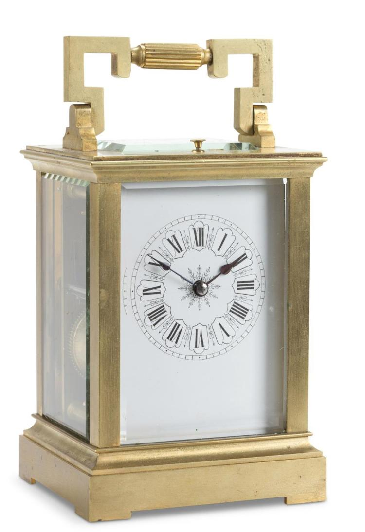 A brass carriage clock, 20th century