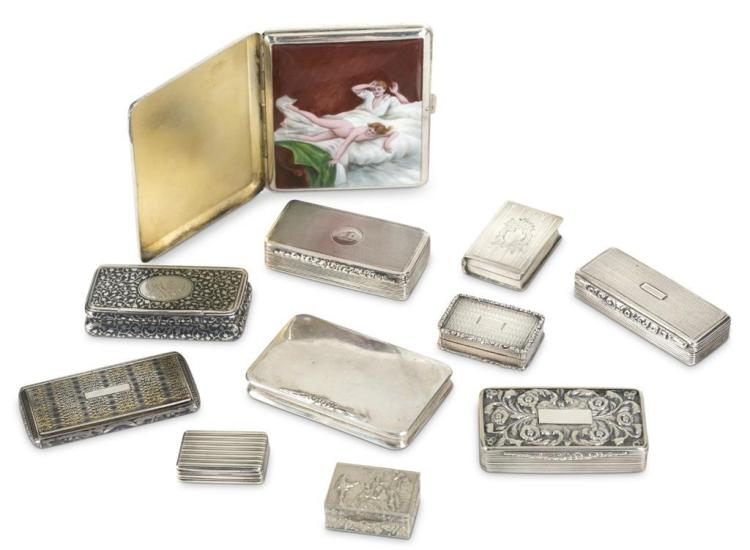 Assortment of eleven snuff boxes and a cigarette case, 19th/20th century