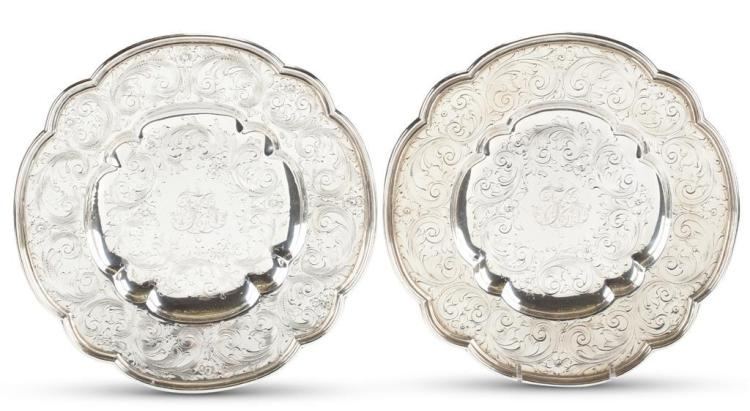 A pair of sterling silver bread plates, bailey, banks & biddle, philadelphia, pa, 20th century