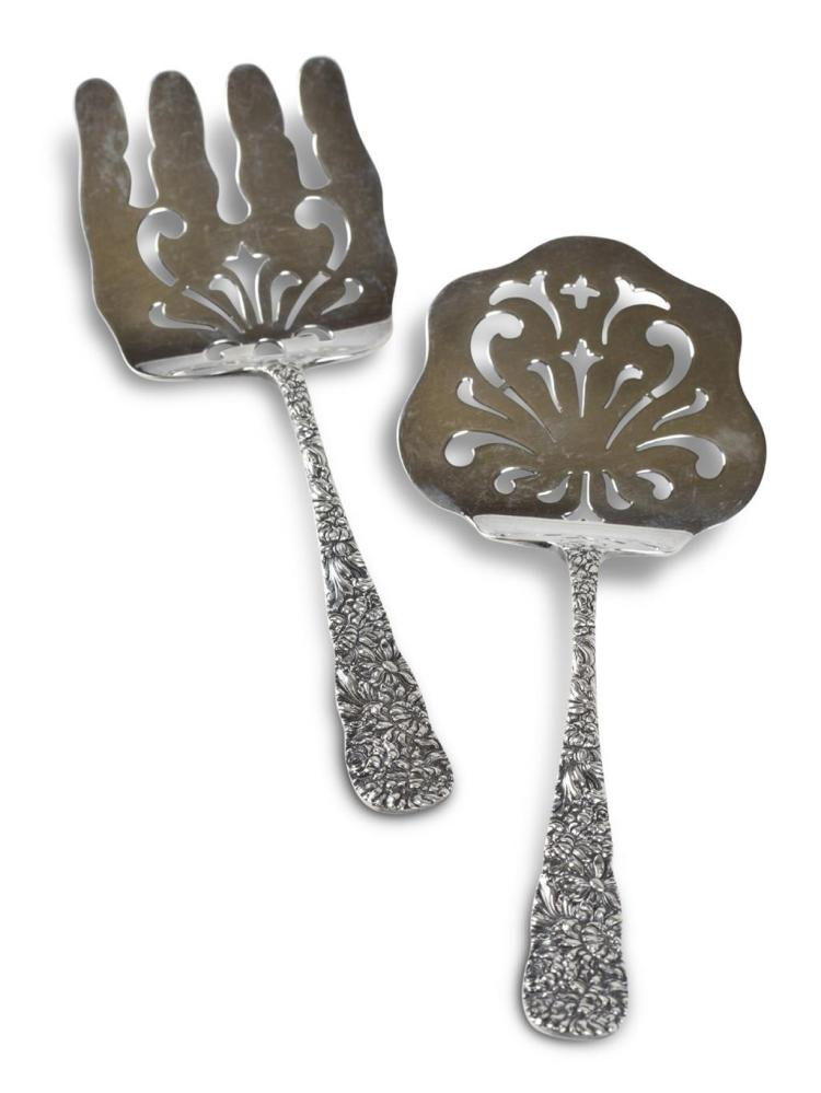 A sterling silver asparagus and tomato servers, stieff company, baltimore, md, early 20th century