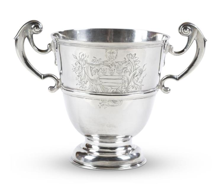 A sterling silver loving cup, english, maker mark