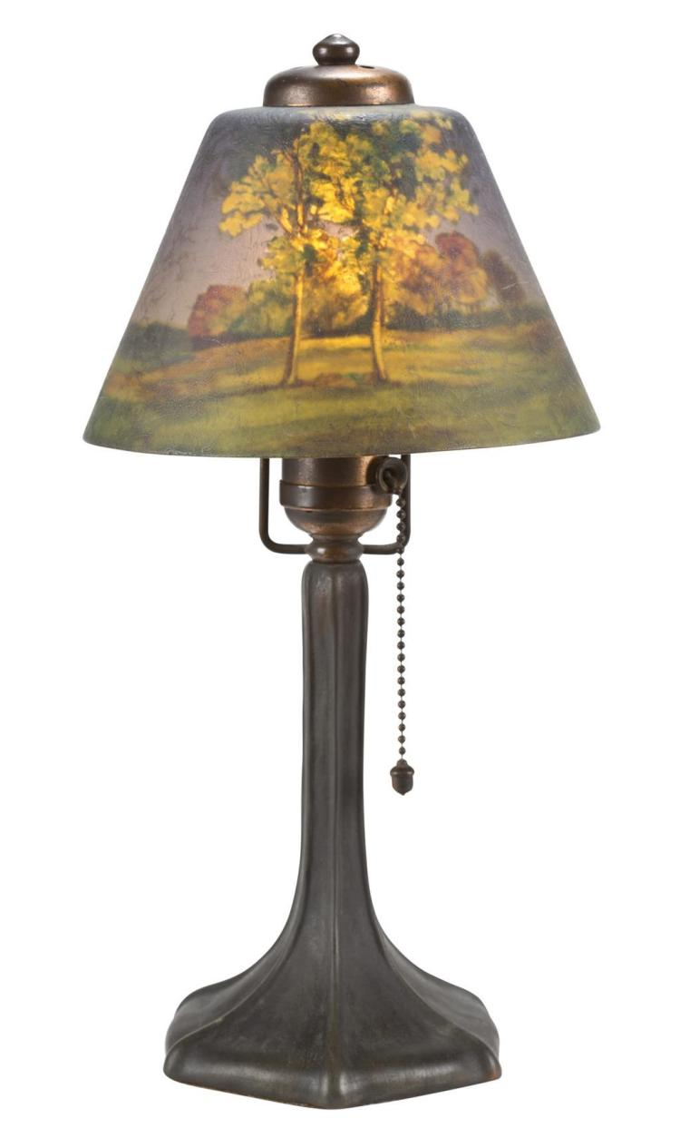 A Handel reverse-painted table lamp, early 20th century