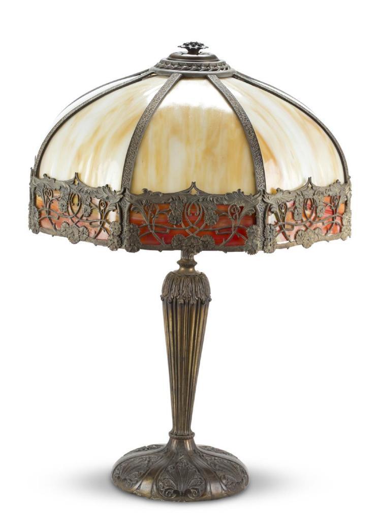 A slag glass lamp, 20th century