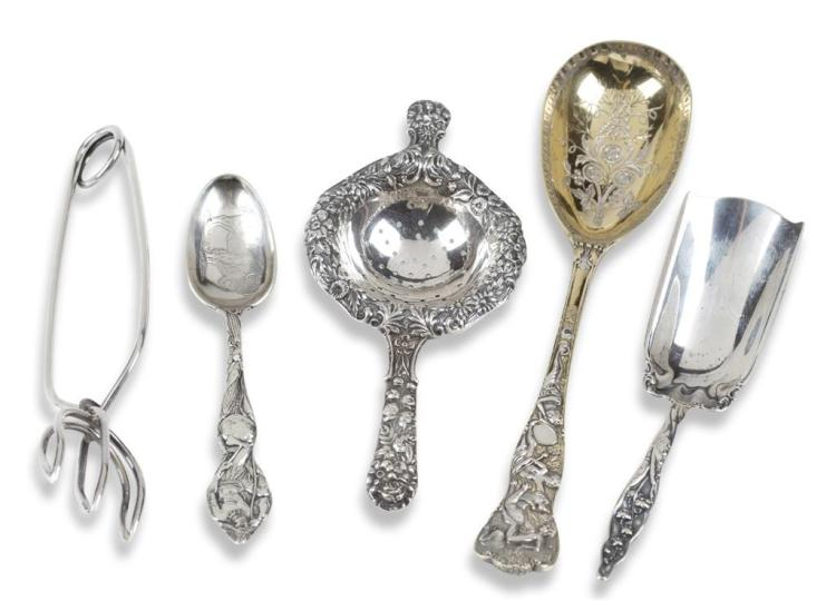 An assortment of five sterling silver serving pieces, 20th century