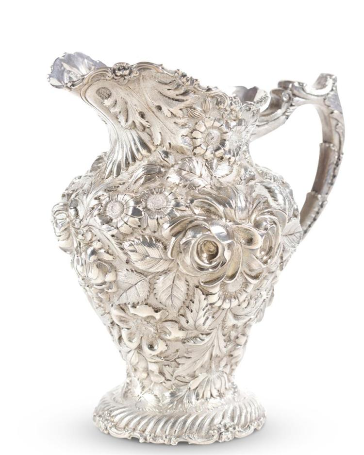 A sterling silver water pitcher, stieff company, baltimore, md, early 20th century