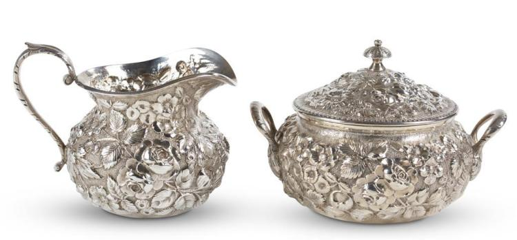 A sterling silver creamer and sugar bowl, jacobi & jenkins, baltimore, md, circa 1900