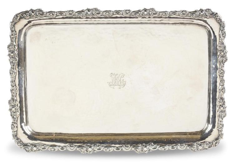 An English sterling silver card tray, mappin & webb, london, 1904