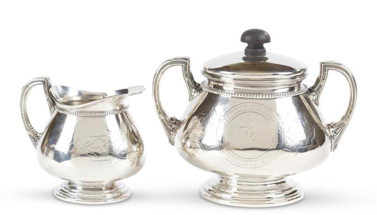 A sterling silver creamer and covered sugar, whiting manufacturing co., new york, ny, first-quarter 20th century