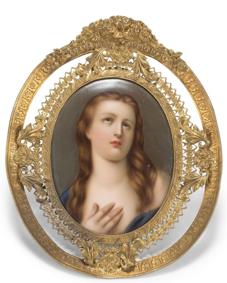 A framed miniature porcelain portrait, continental, 19th century