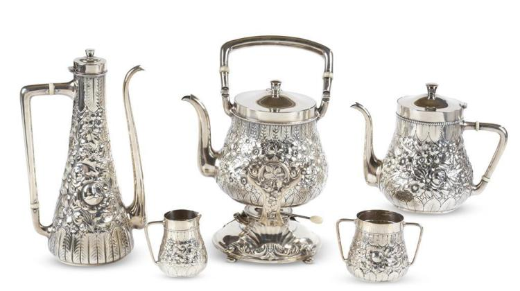A five piece sterling silver tea service, gorham manufacturing co., providence, ri, circa 1900