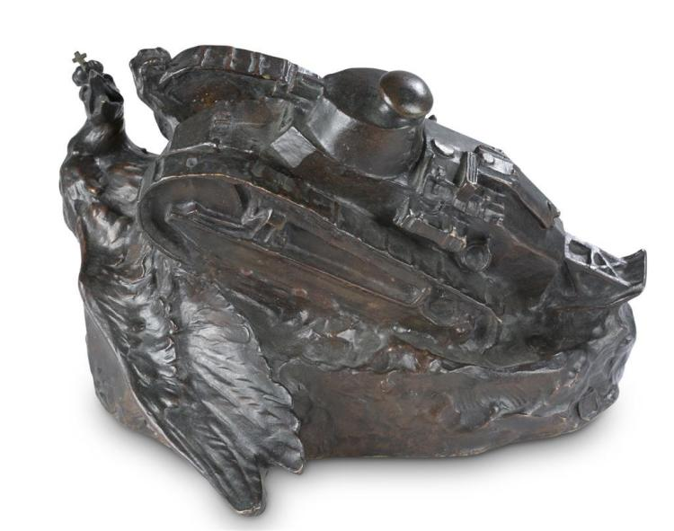 A bronze military sculpture, early 20th century