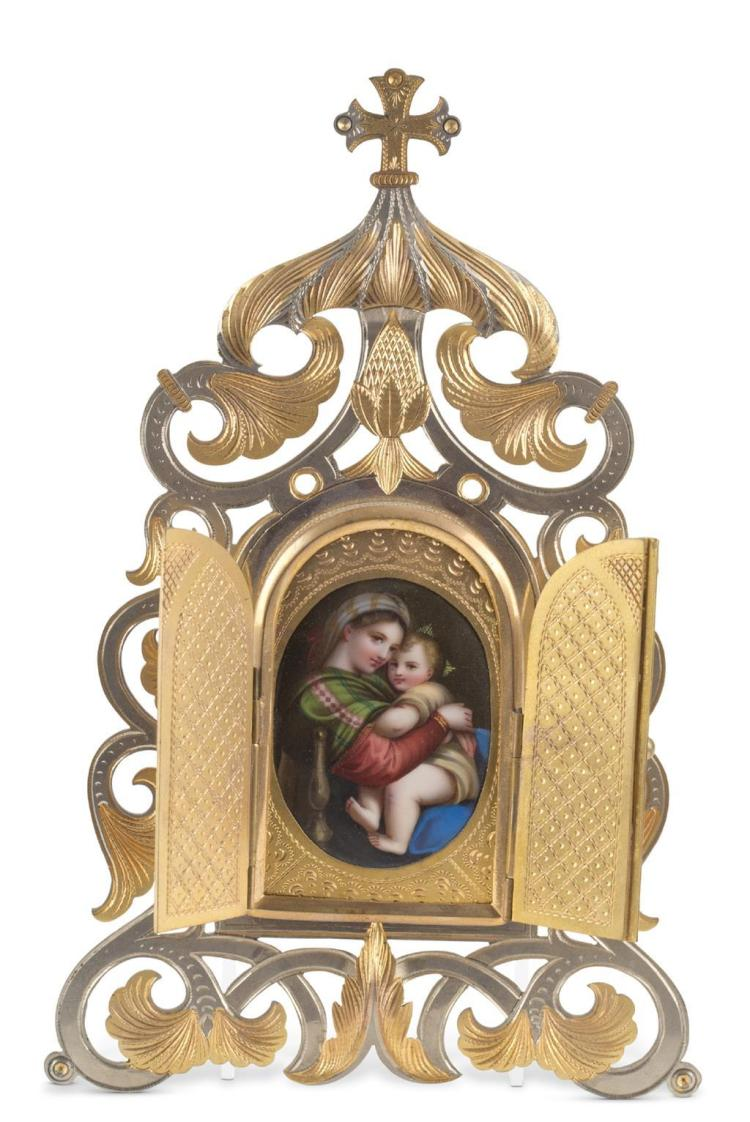 An icon of the madonna and child, continental, 19th century