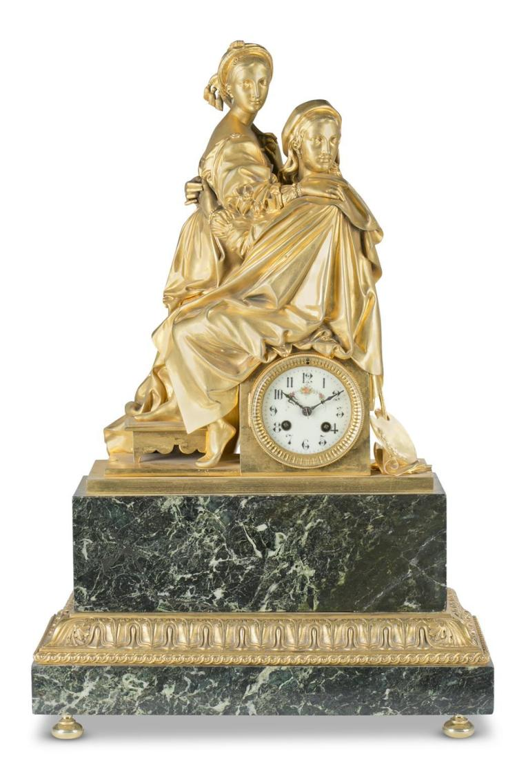 A French gilt bronze figural mantel clock, mid 18th century