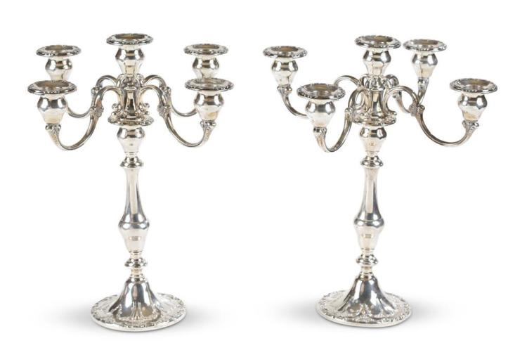 A pair of sterling silver candelabras, gorham manufacturing co., providence, ri, 20th century