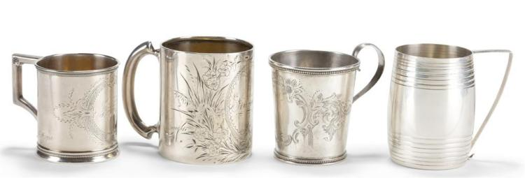 Four sterling silver and coin child''s cups,