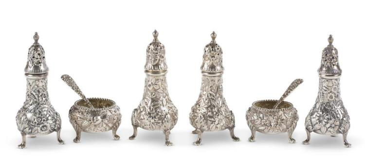 An assortment of sterling silver salts and pepper shakers, s. kirk & son, baltimore, md, 20th century