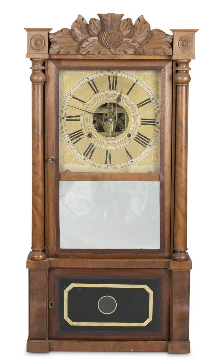 A Birge, Mallory & Co. walnut shelf clock, bristol, ct, 19th century