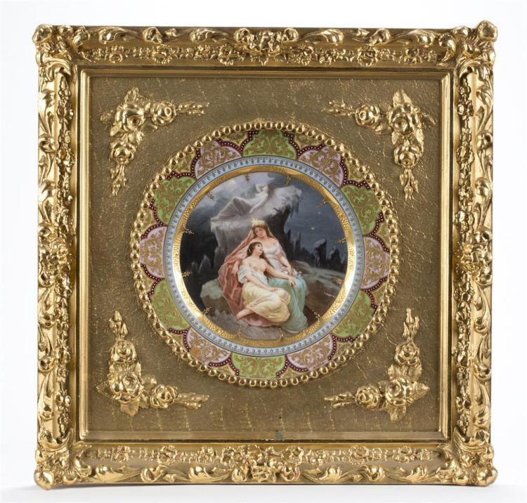 A Royal Vienna hand-painted and gilt porcelain cabinet plate, circa 1900