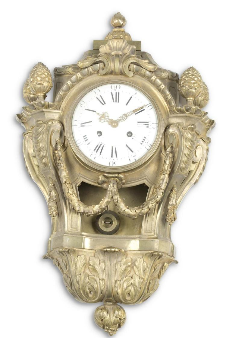 A Louis XV gilt bronze cartel clock, 19th century