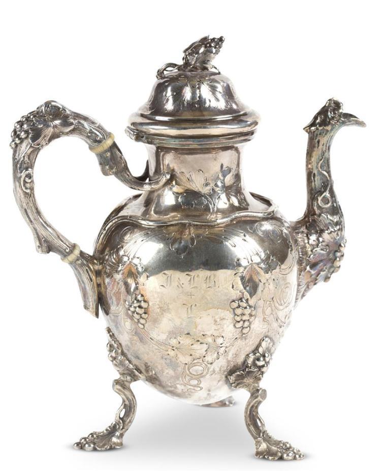 A coin silver teapot, jones ball & co., boston, ma
