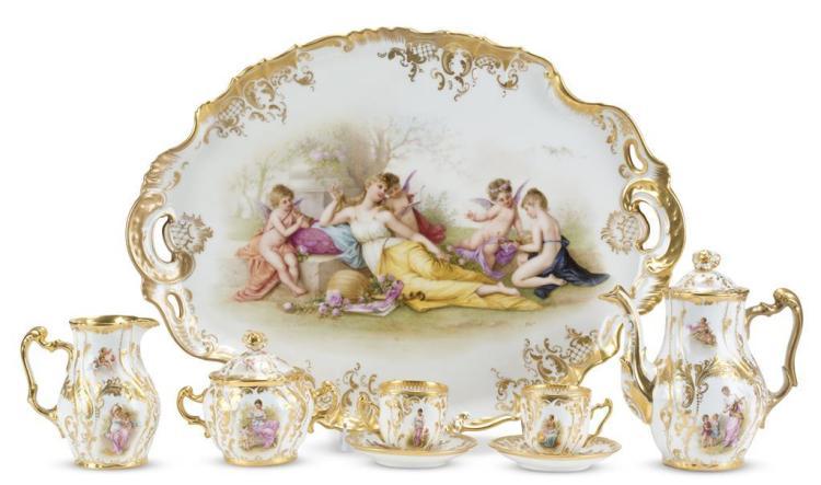 A six piece Royal Vienna porcelain demitasse service, 19th century