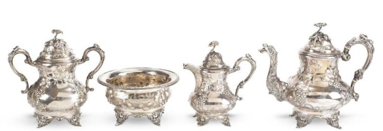 A four piece coin silver tea service, francis w. cooper, new york, ny, Mid 19th century