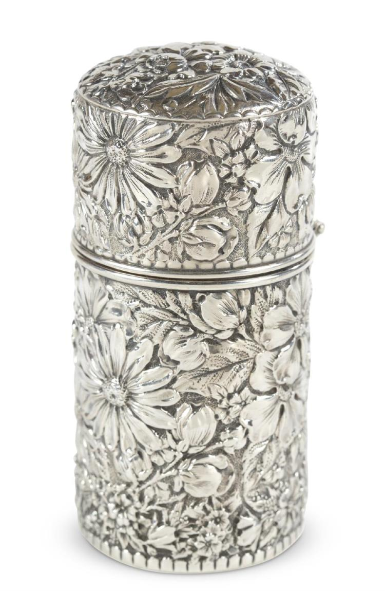 A sterling silver repousse canister, gorham, providence, ri, early 20th c.